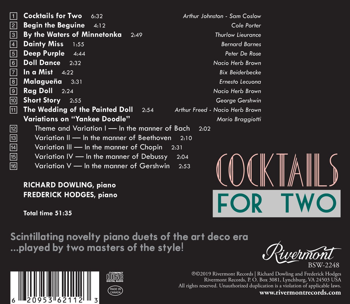 Cocktails For Two - Back Cover