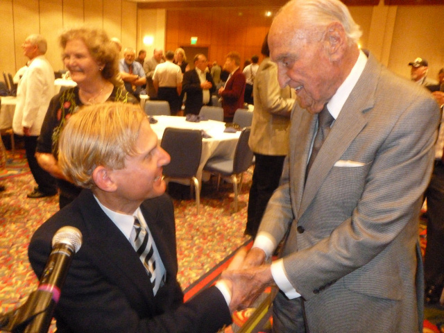 Frederick Hodges with A.C.                     Lyles, Producer for Paramount Studios. September 9                     2011. Photo courtesy of Rusty Frank